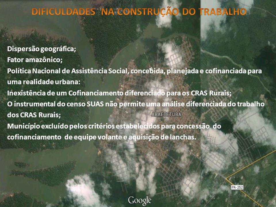 Dispersão geográfica; Fator amazônico; Política Nacional de Assistência Social, concebida, planejada e cofinanciada para uma realidade urbana: Inexist