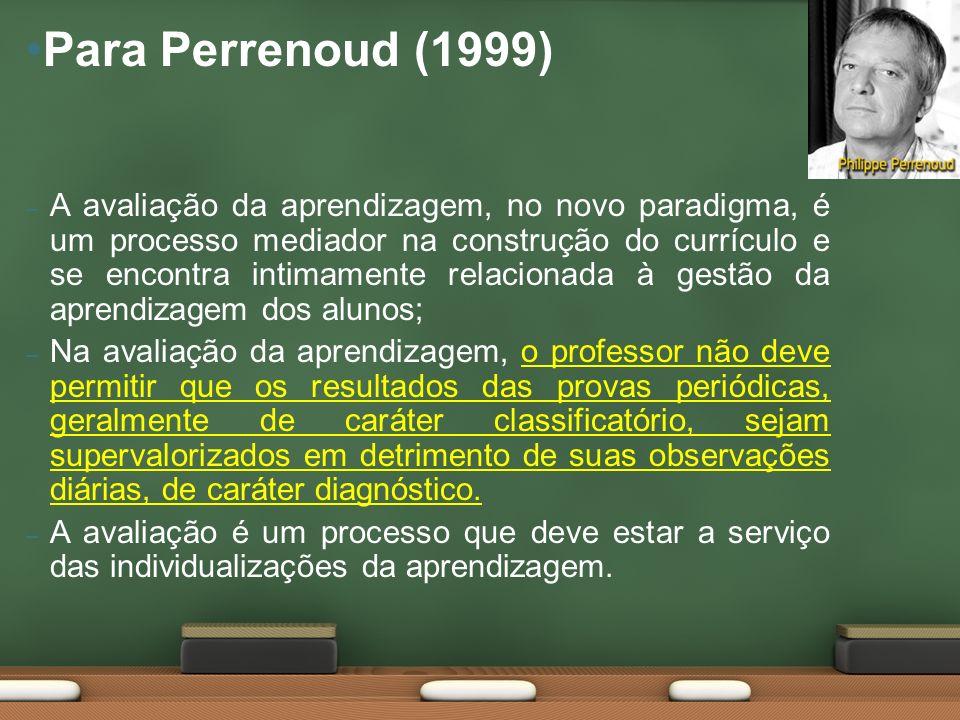 – A avaliação da aprendizagem, no novo paradigma, é um processo mediador na construção do currículo e se encontra intimamente relacionada à gestão da