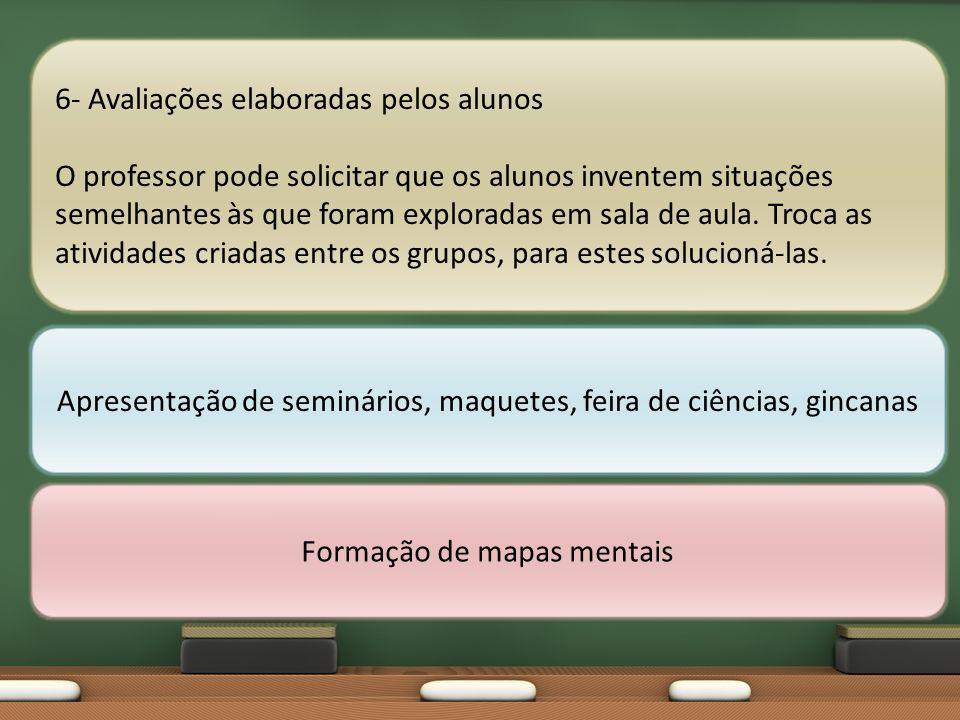 6- Avaliações elaboradas pelos alunos O professor pode solicitar que os alunos inventem situações semelhantes às que foram exploradas em sala de aula.