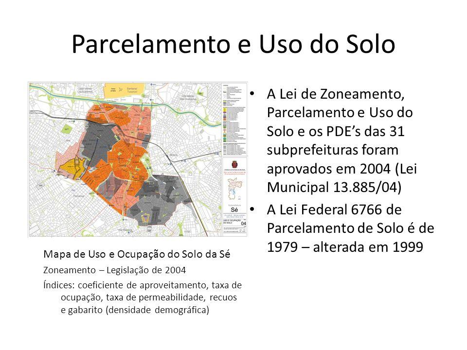 Parcelamento e Uso do Solo A Lei de Zoneamento, Parcelamento e Uso do Solo e os PDEs das 31 subprefeituras foram aprovados em 2004 (Lei Municipal 13.8