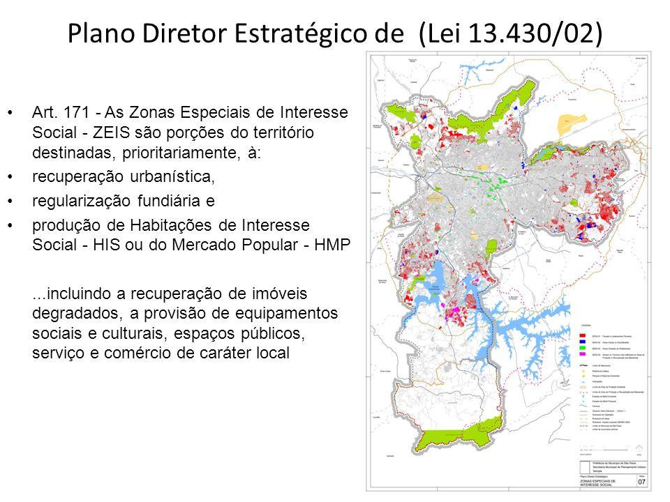 Plano Diretor Estratégico de (Lei 13.430/02) Art. 171 - As Zonas Especiais de Interesse Social - ZEIS são porções do território destinadas, prioritari