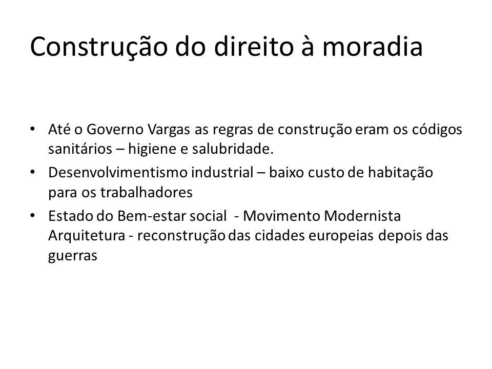 Construção do direito à moradia Até o Governo Vargas as regras de construção eram os códigos sanitários – higiene e salubridade. Desenvolvimentismo in