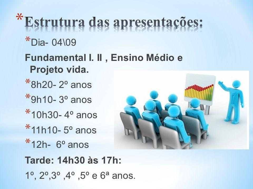 * Dia- 04\09 Fundamental I. II, Ensino Médio e Projeto vida. * 8h20- 2º anos * 9h10- 3º anos * 10h30- 4º anos * 11h10- 5º anos * 12h- 6º anos Tarde: 1