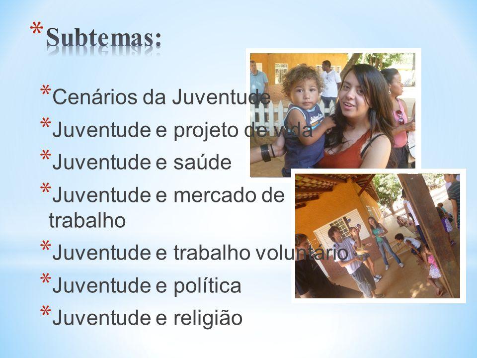 * Cenários da Juventude * Juventude e projeto de vida * Juventude e saúde * Juventude e mercado de trabalho * Juventude e trabalho voluntário * Juvent