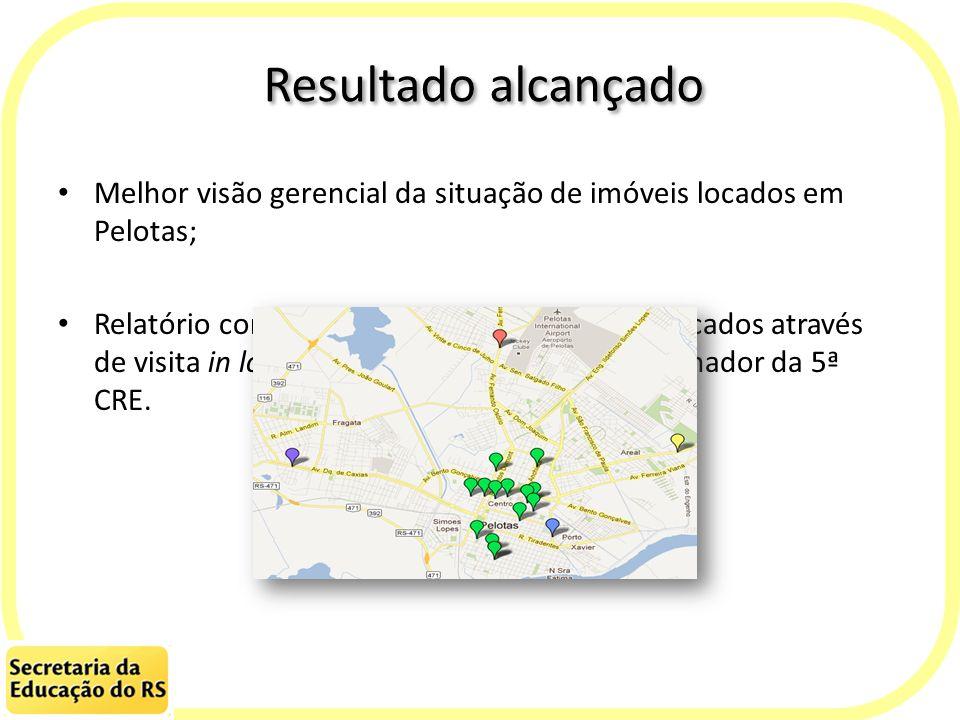 Resultado alcançado Melhor visão gerencial da situação de imóveis locados em Pelotas; Relatório contendo diagnóstico dos imóveis locados através de vi