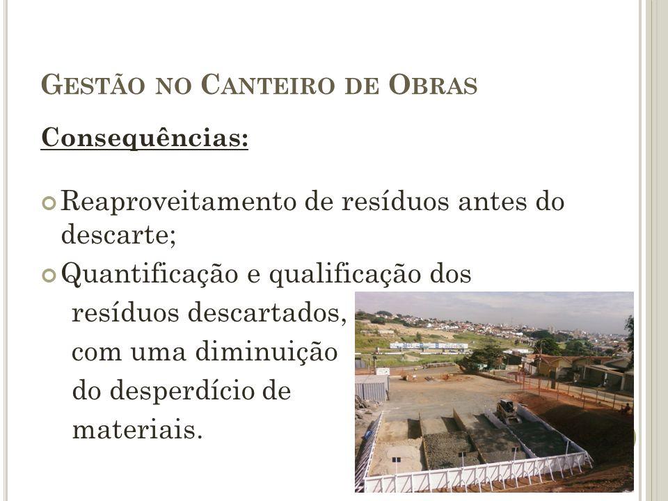 G ESTÃO NO C ANTEIRO DE O BRAS Consequências: Reaproveitamento de resíduos antes do descarte; Quantificação e qualificação dos resíduos descartados, c