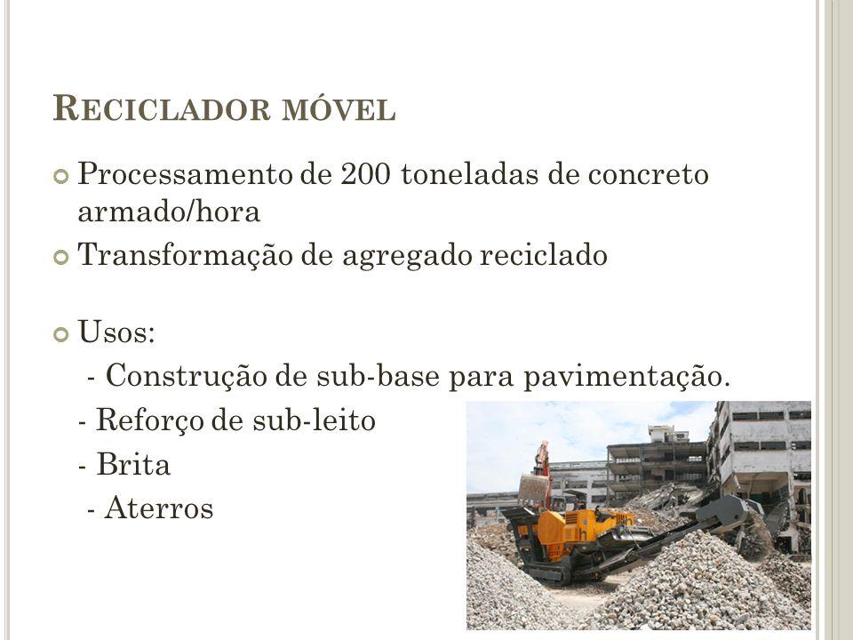 R ECICLADOR MÓVEL Processamento de 200 toneladas de concreto armado/hora Transformação de agregado reciclado Usos: - Construção de sub-base para pavim