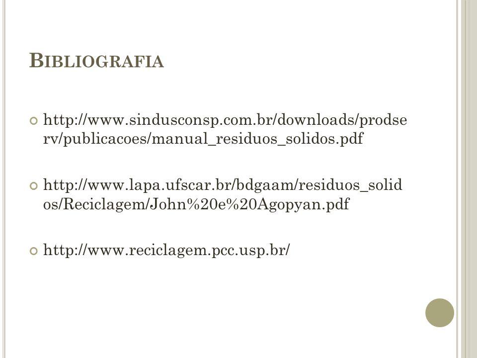 B IBLIOGRAFIA http://www.sindusconsp.com.br/downloads/prodse rv/publicacoes/manual_residuos_solidos.pdf http://www.lapa.ufscar.br/bdgaam/residuos_soli