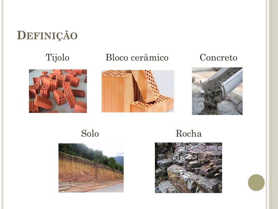 D EFINIÇÃO Tijolo Bloco cerâmico Concreto Solo Rocha