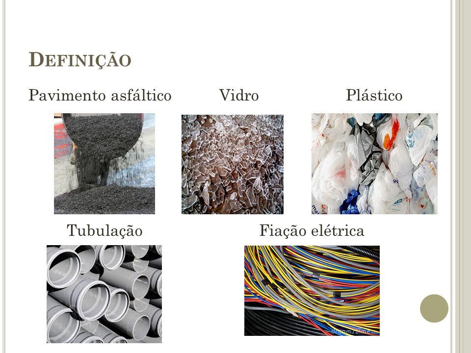 C LASSIFICAÇÃO Classe A: Resíduos reutilizáveis ou recicláveis como agregados: - Solos provenientes de terraplanagem - Componentes cerâmicos - Argamassa e concreto