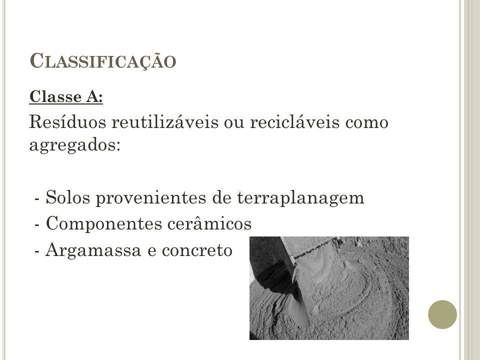 C LASSIFICAÇÃO Classe A: Resíduos reutilizáveis ou recicláveis como agregados: - Solos provenientes de terraplanagem - Componentes cerâmicos - Argamas