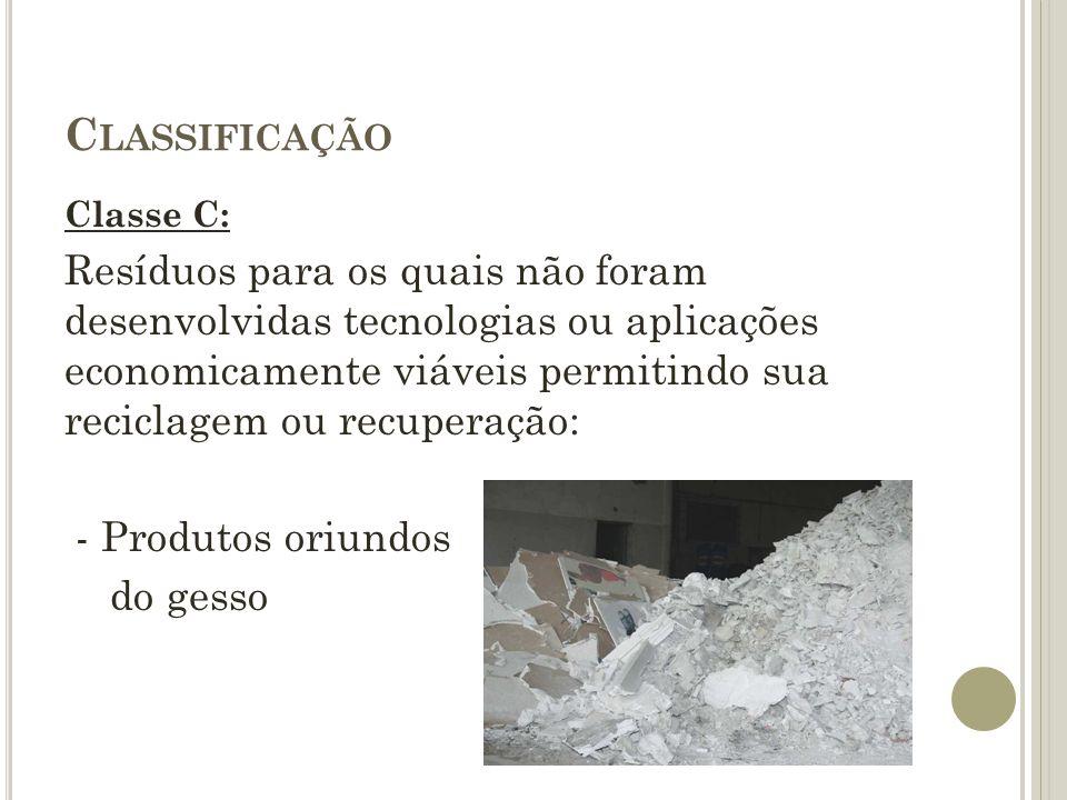 C LASSIFICAÇÃO CLASSE D: Resíduos perigosos oriundos do processo de construção: - Tintas, solventes, óleos - Telhas e materiais que tem amianto ou outro produto nocivo
