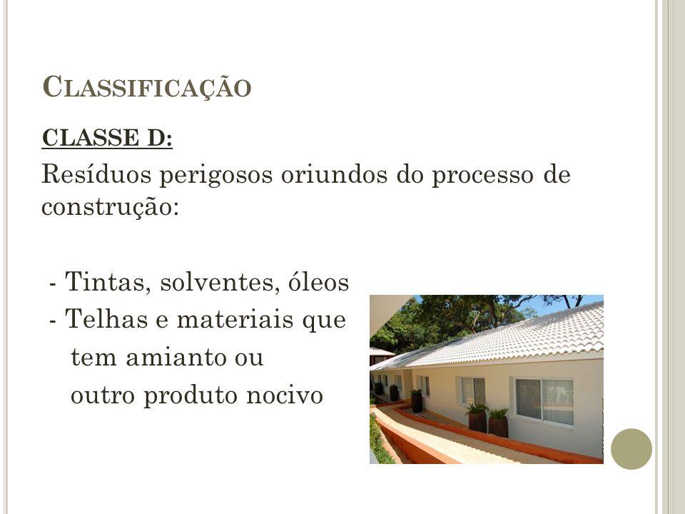 C LASSIFICAÇÃO CLASSE D: Resíduos perigosos oriundos do processo de construção: - Tintas, solventes, óleos - Telhas e materiais que tem amianto ou out