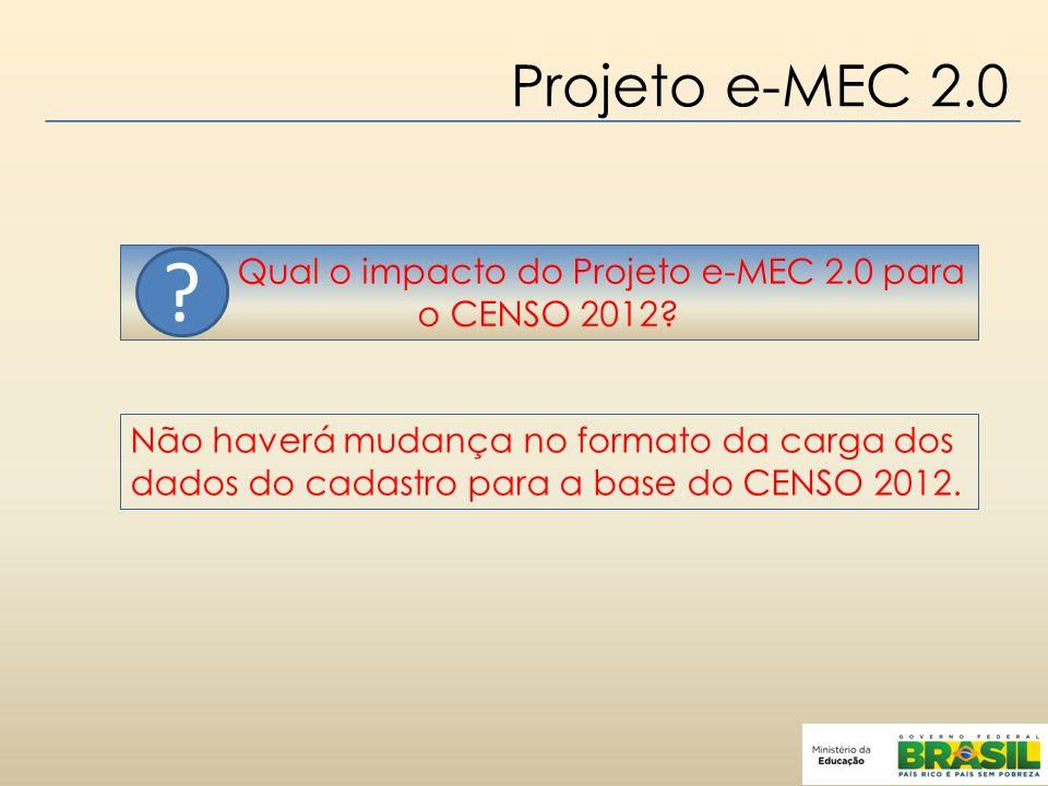 Projeto e-MEC 2.0 Qual o impacto do Projeto e-MEC 2.0 para o CENSO 2012.