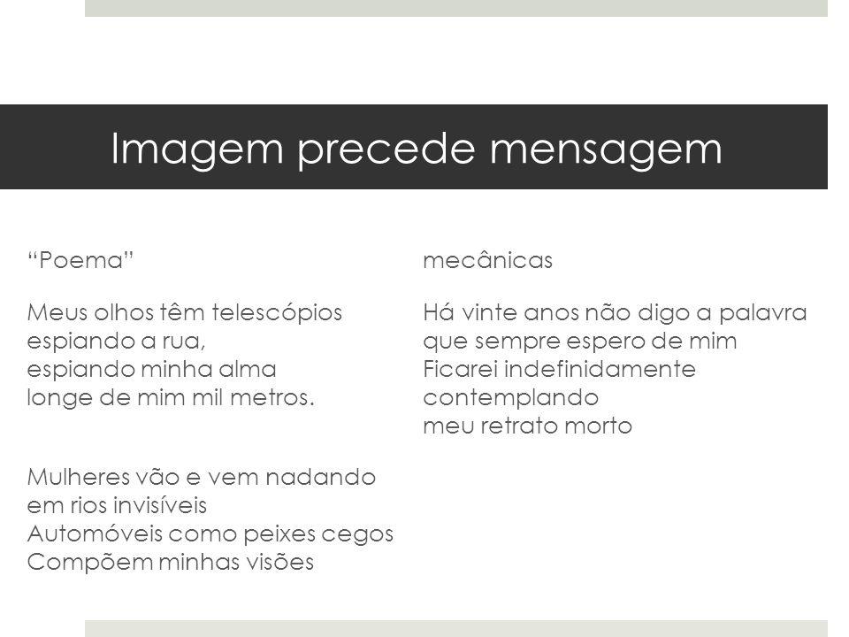 Imagem precede mensagem Poema de abertura de Pedra do sono (1942).