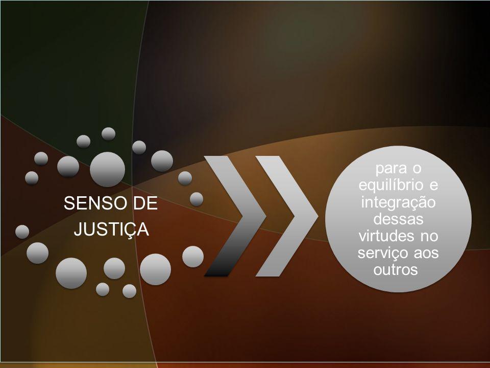 SENSO DE JUSTIÇA para o equilíbrio e integração dessas virtudes no serviço aos outros