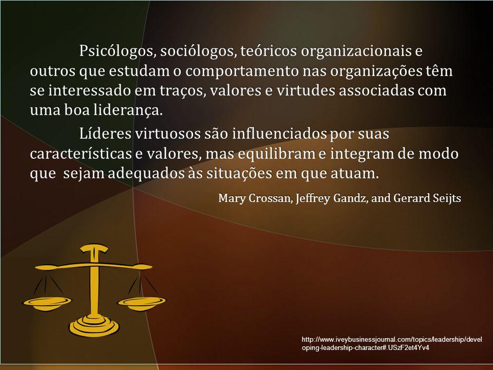 Psicólogos, sociólogos, teóricos organizacionais e outros que estudam o comportamento nas organizações têm se interessado em traços, valores e virtudes associadas com uma boa liderança.