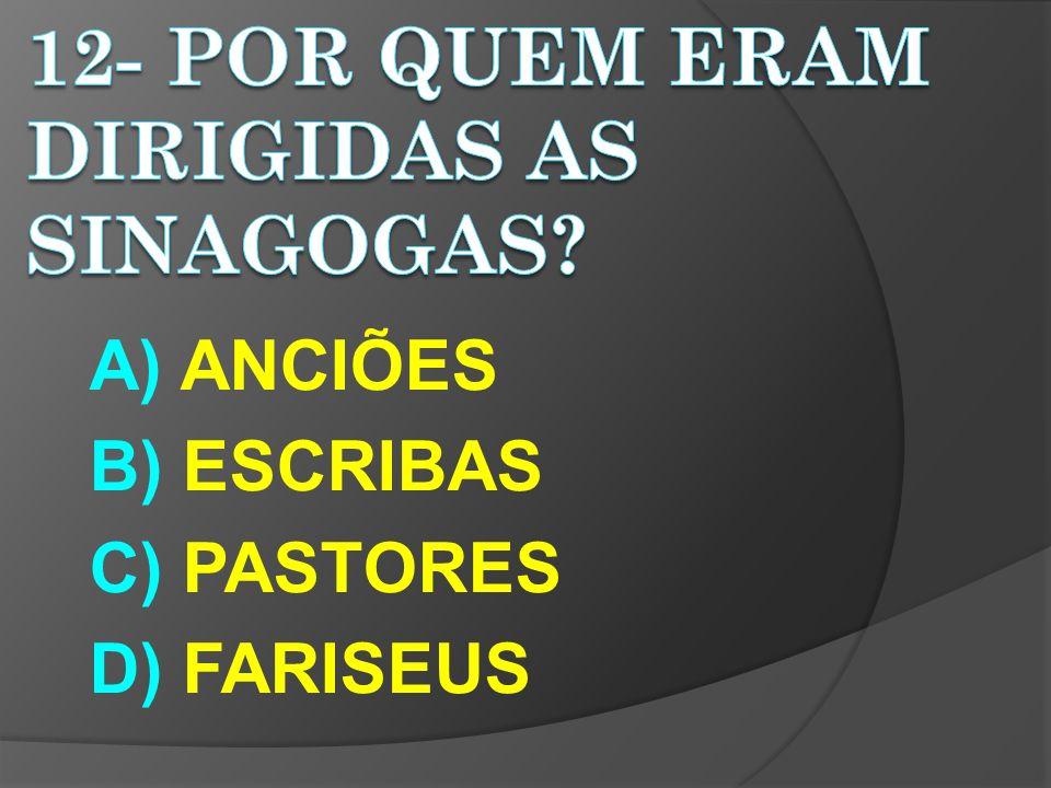 A) ANCIÕES B) ESCRIBAS C) PASTORES D) FARISEUS