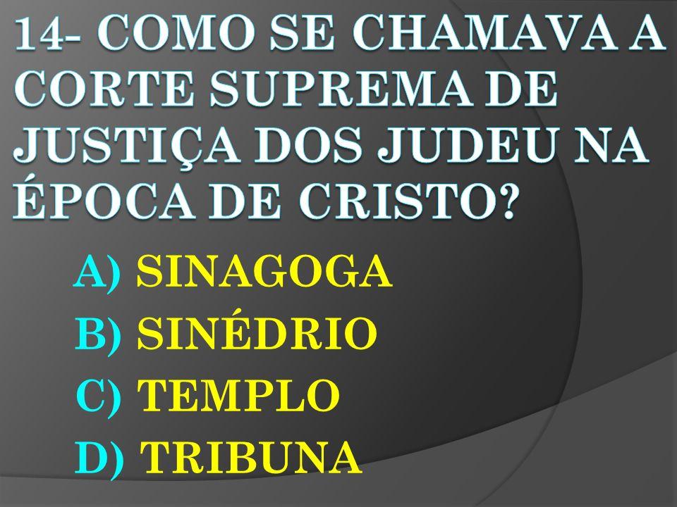 A) SINAGOGA B) SINÉDRIO C) TEMPLO D) TRIBUNA
