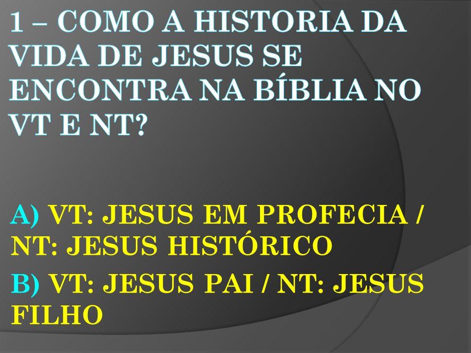 A) VT: JESUS EM PROFECIA / NT: JESUS HISTÓRICO B) VT: JESUS PAI / NT: JESUS FILHO