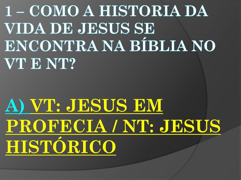 A) VT: JESUS EM PROFECIA / NT: JESUS HISTÓRICO
