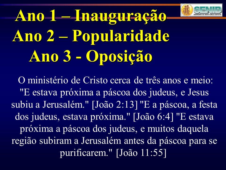 Ano 1 – Inauguração Ano 2 – Popularidade Ano 3 - Oposição Ano 1 – Inauguração Ano 2 – Popularidade Ano 3 - Oposição O ministério de Cristo cerca de tr