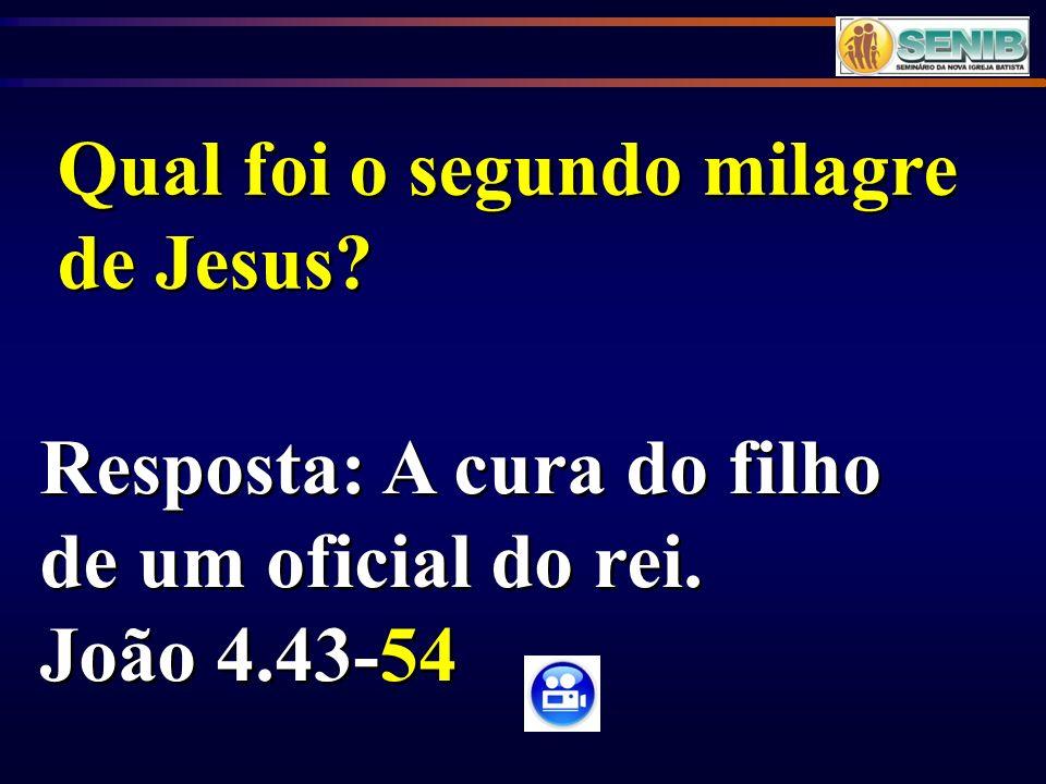 Resposta: A cura do filho de um oficial do rei. João 4.43-54 Resposta: A cura do filho de um oficial do rei. João 4.43-54