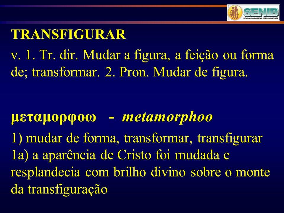 TRANSFIGURAR v. 1. Tr. dir. Mudar a figura, a feição ou forma de; transformar. 2. Pron. Mudar de figura. μεταμορφοω - metamorphoo 1) mudar de forma, t
