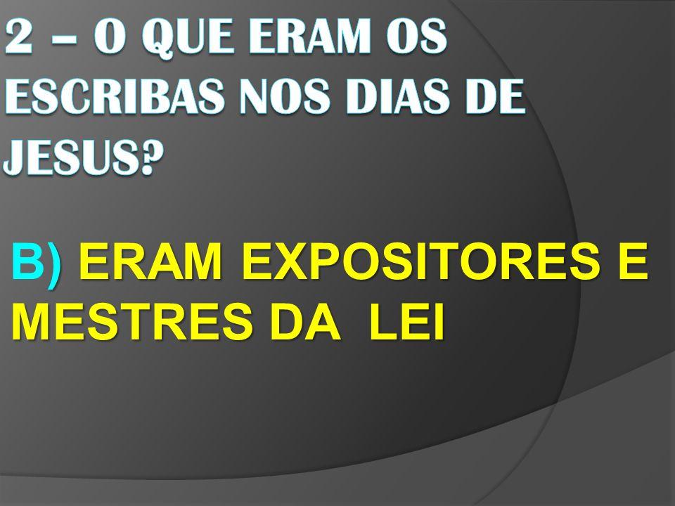 ) ERAM EXPOSITORES E MESTRES DA LEI B) ERAM EXPOSITORES E MESTRES DA LEI