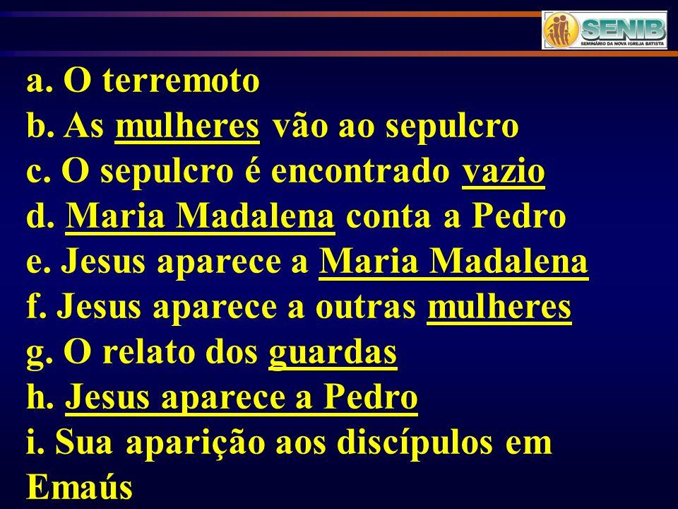 a. O terremoto mulheres b. As mulheres vão ao sepulcro vazio c. O sepulcro é encontrado vazio Maria Madalena d. Maria Madalena conta a Pedro Maria Mad