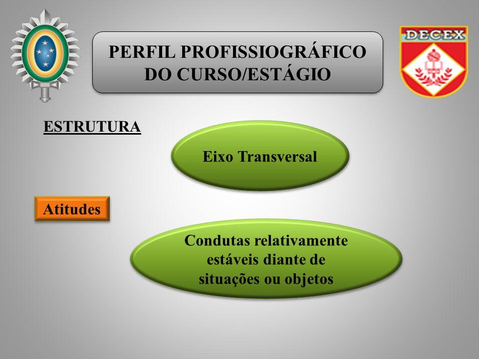 PERFIL PROFISSIOGRÁFICO DO CURSO/ESTÁGIO PERFIL PROFISSIOGRÁFICO DO CURSO/ESTÁGIO ESTRUTURA Eixo Transversal Atitudes Condutas relativamente estáveis