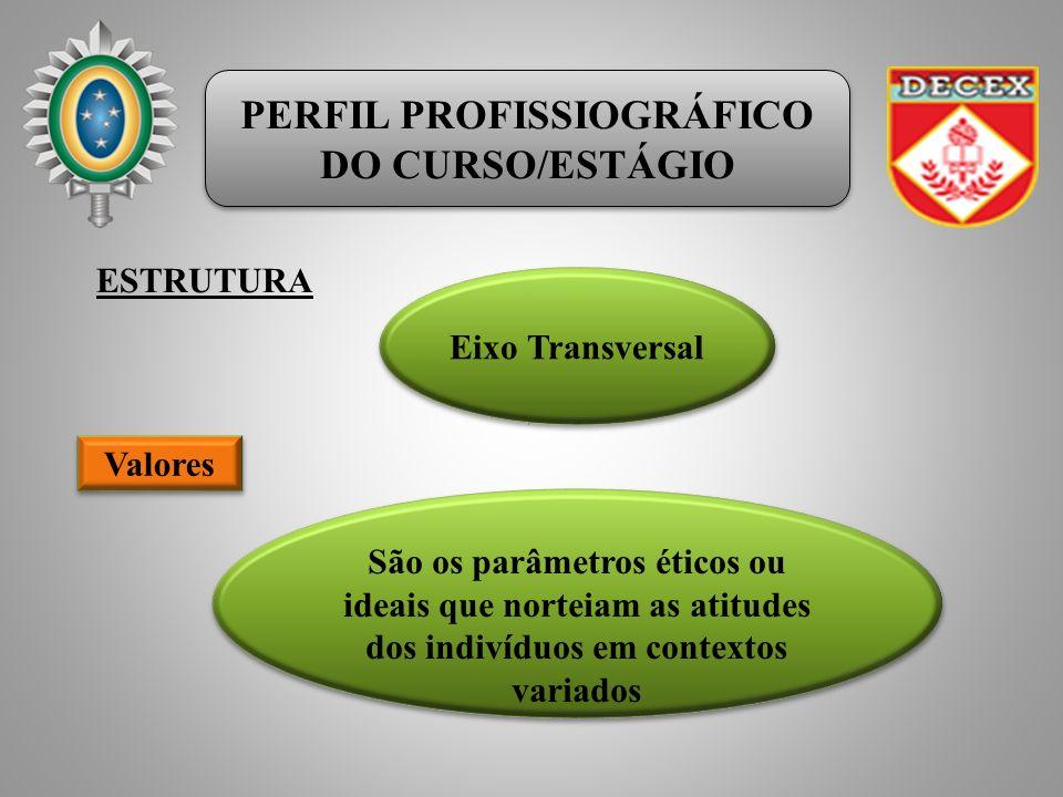 PERFIL PROFISSIOGRÁFICO DO CURSO/ESTÁGIO PERFIL PROFISSIOGRÁFICO DO CURSO/ESTÁGIO ESTRUTURA Eixo Transversal Valores São os parâmetros éticos ou ideais que norteiam as atitudes dos indivíduos em contextos variados