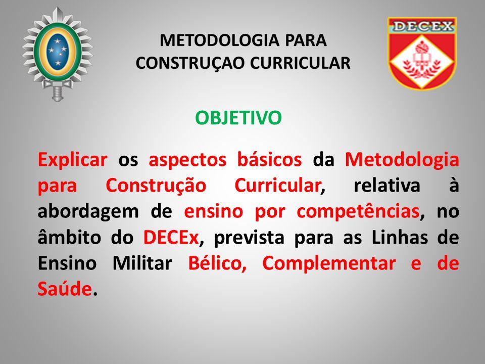 OBJETIVO Explicar os aspectos básicos da Metodologia para Construção Curricular, relativa à abordagem de ensino por competências, no âmbito do DECEx, prevista para as Linhas de Ensino Militar Bélico, Complementar e de Saúde.