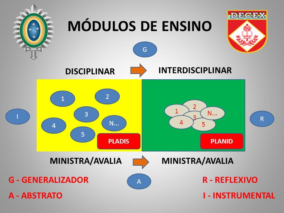 MÓDULOS DE ENSINO MINISTRA/AVALIA 1 3 5 2 N... 4 2 1 3 5 4 MINISTRA/AVALIA DISCIPLINAR INTERDISCIPLINAR G I A R I - INSTRUMENTAL R - REFLEXIVO A - ABS