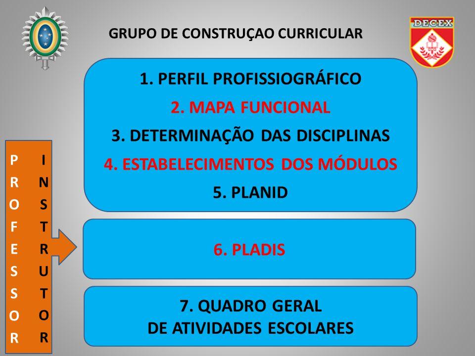 GRUPO DE CONSTRUÇAO CURRICULAR 1. PERFIL PROFISSIOGRÁFICO 2. MAPA FUNCIONAL 3. DETERMINAÇÃO DAS DISCIPLINAS 4. ESTABELECIMENTOS DOS MÓDULOS 5. PLANID