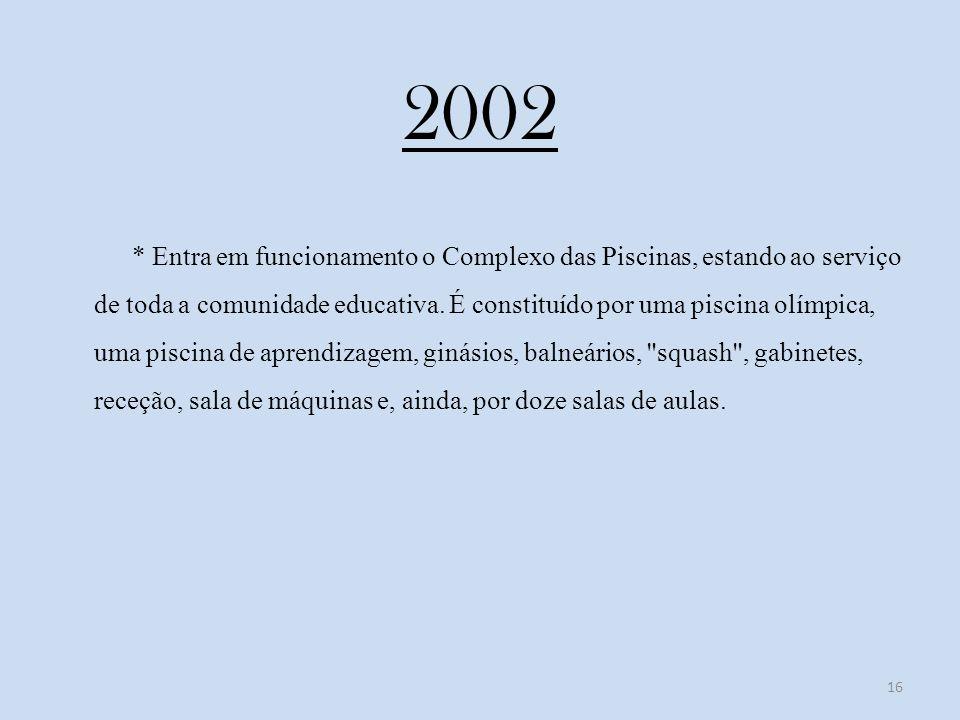 2002 * Entra em funcionamento o Complexo das Piscinas, estando ao serviço de toda a comunidade educativa.
