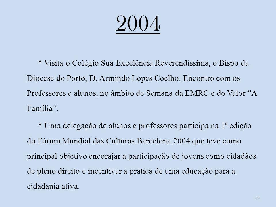 2004 * Visita o Colégio Sua Excelência Reverendíssima, o Bispo da Diocese do Porto, D.