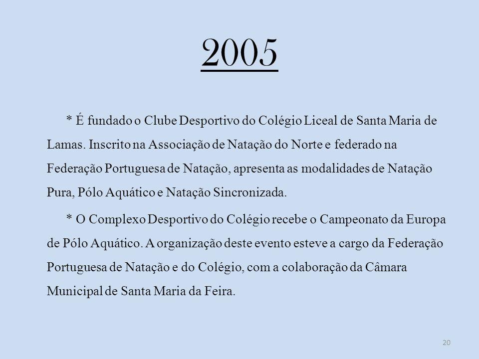 2005 * É fundado o Clube Desportivo do Colégio Liceal de Santa Maria de Lamas.