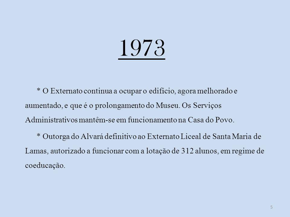 1973 * O Externato continua a ocupar o edifício, agora melhorado e aumentado, e que é o prolongamento do Museu.