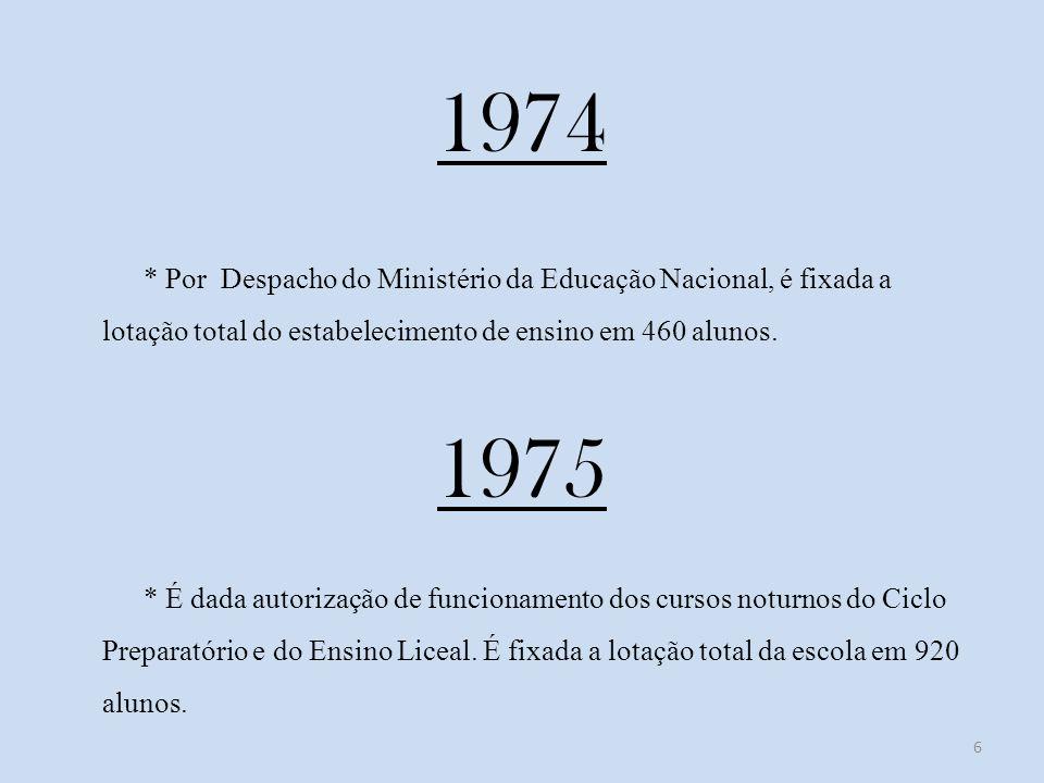 1974 * Por Despacho do Ministério da Educação Nacional, é fixada a lotação total do estabelecimento de ensino em 460 alunos.