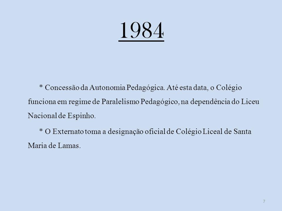 1984 * Concessão da Autonomia Pedagógica.