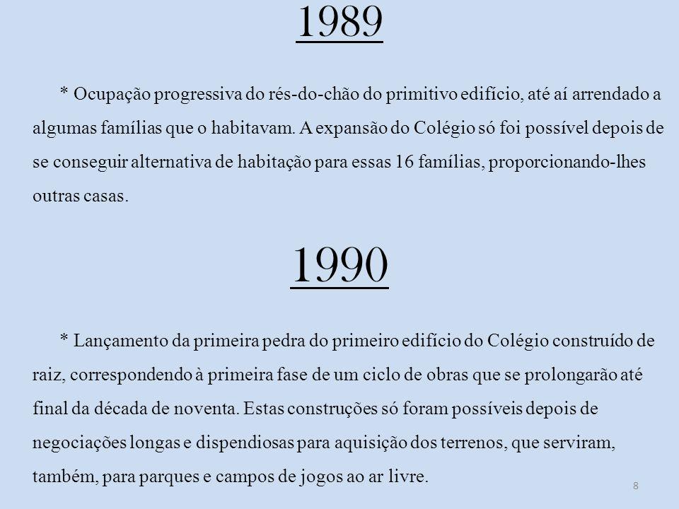 1989 * Ocupação progressiva do rés-do-chão do primitivo edifício, até aí arrendado a algumas famílias que o habitavam.