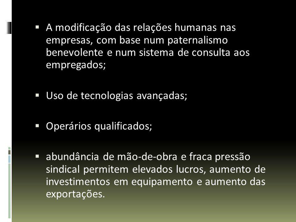 A modificação das relações humanas nas empresas, com base num paternalismo benevolente e num sistema de consulta aos empregados; Uso de tecnologias av