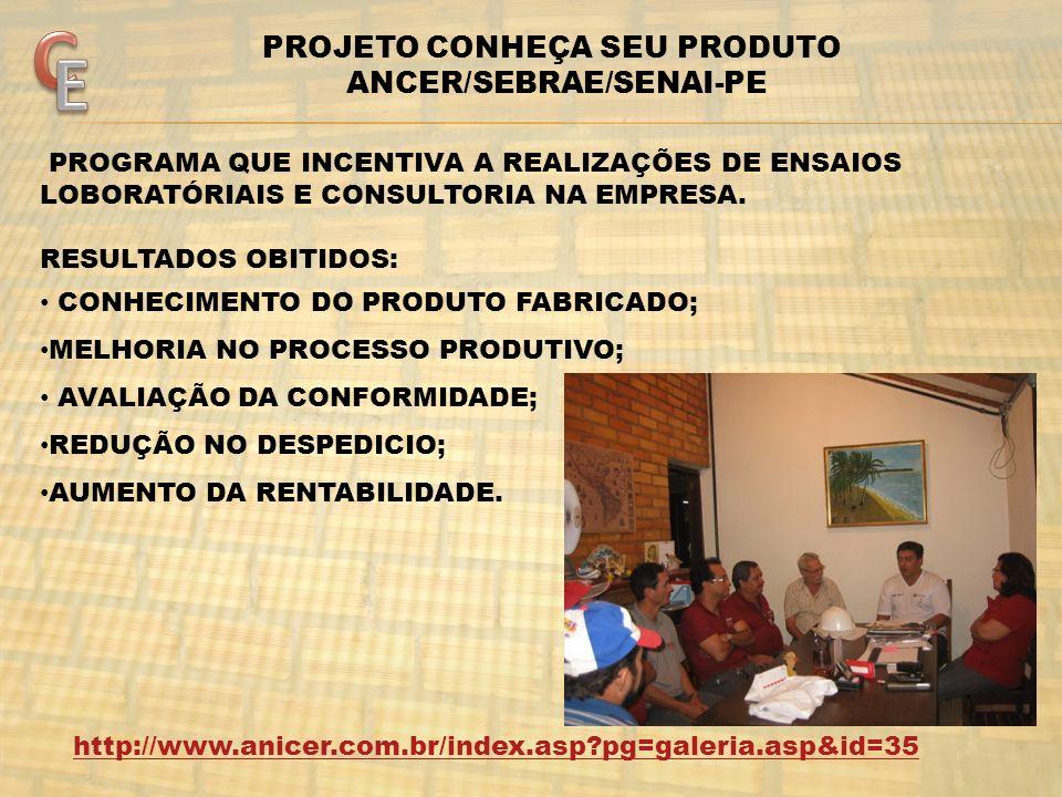 http://www.anicer.com.br/index.asp?pg=galeria.asp&id=35 PROJETO CONHEÇA SEU PRODUTO ANCER/SEBRAE/SENAI-PE PROGRAMA QUE INCENTIVA A REALIZAÇÕES DE ENSA
