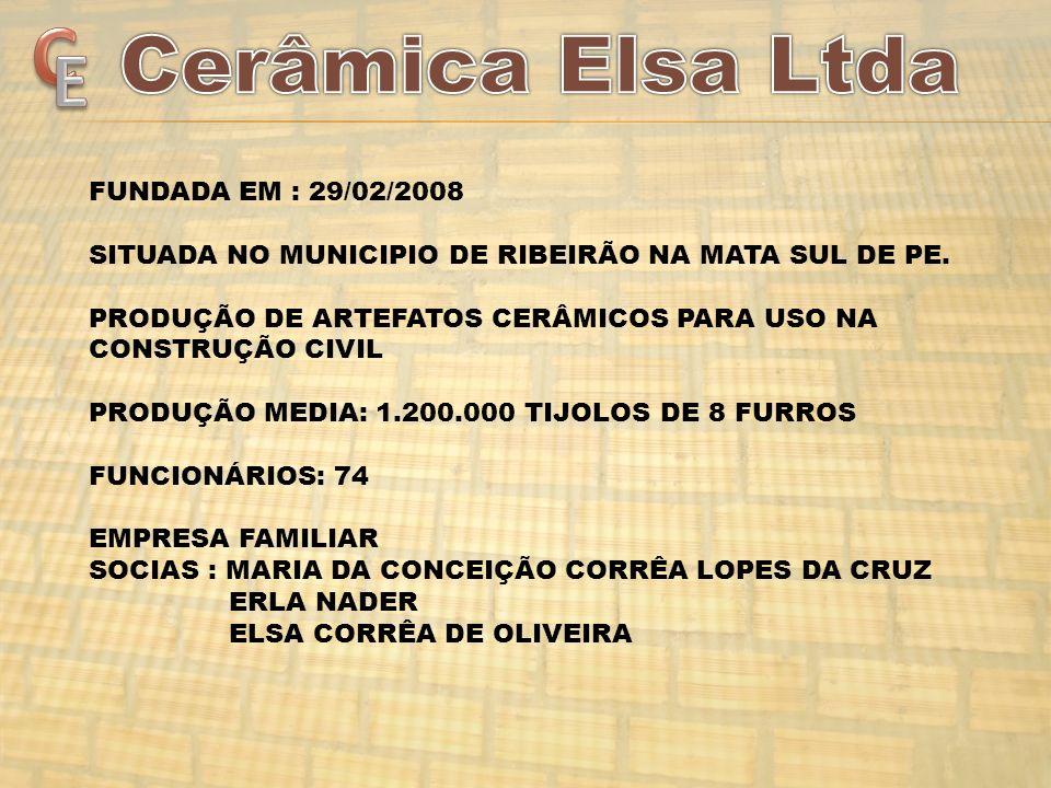 FUNDADA EM : 29/02/2008 SITUADA NO MUNICIPIO DE RIBEIRÃO NA MATA SUL DE PE. PRODUÇÃO DE ARTEFATOS CERÂMICOS PARA USO NA CONSTRUÇÃO CIVIL PRODUÇÃO MEDI