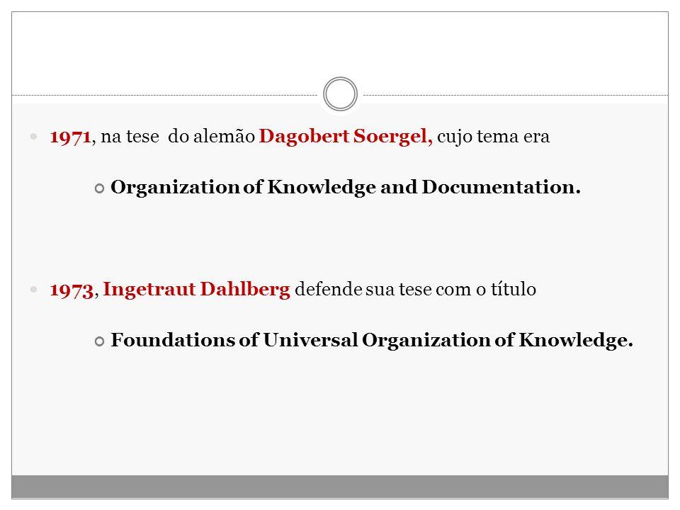1971, na tese do alemão Dagobert Soergel, cujo tema era Organization of Knowledge and Documentation. 1973, Ingetraut Dahlberg defende sua tese com o t