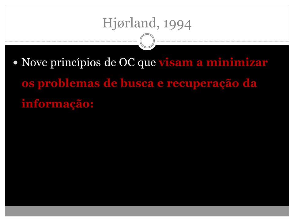Hjørland, 1994 Nove princípios de OC que visam a minimizar os problemas de busca e recuperação da informação: