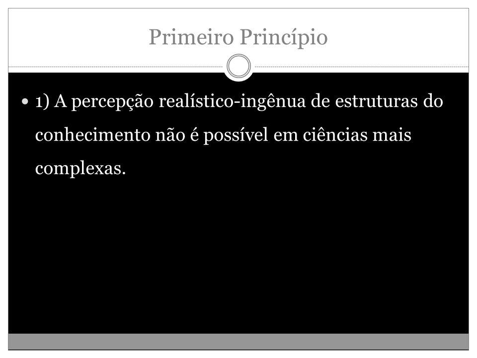 Primeiro Princípio 1) A percepção realístico-ingênua de estruturas do conhecimento não é possível em ciências mais complexas.