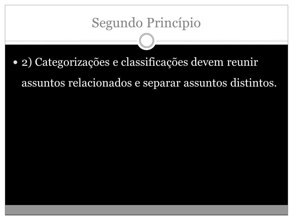 Segundo Princípio 2) Categorizações e classificações devem reunir assuntos relacionados e separar assuntos distintos.