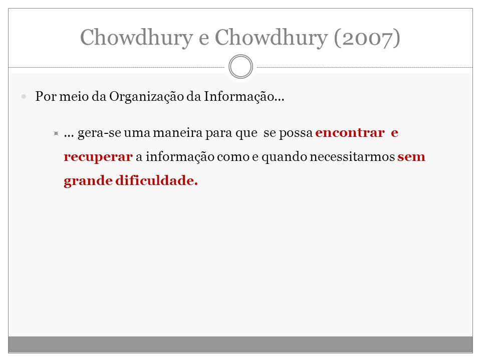 Chowdhury e Chowdhury (2007) Por meio da Organização da Informação...... gera-se uma maneira para que se possa encontrar e recuperar a informação como